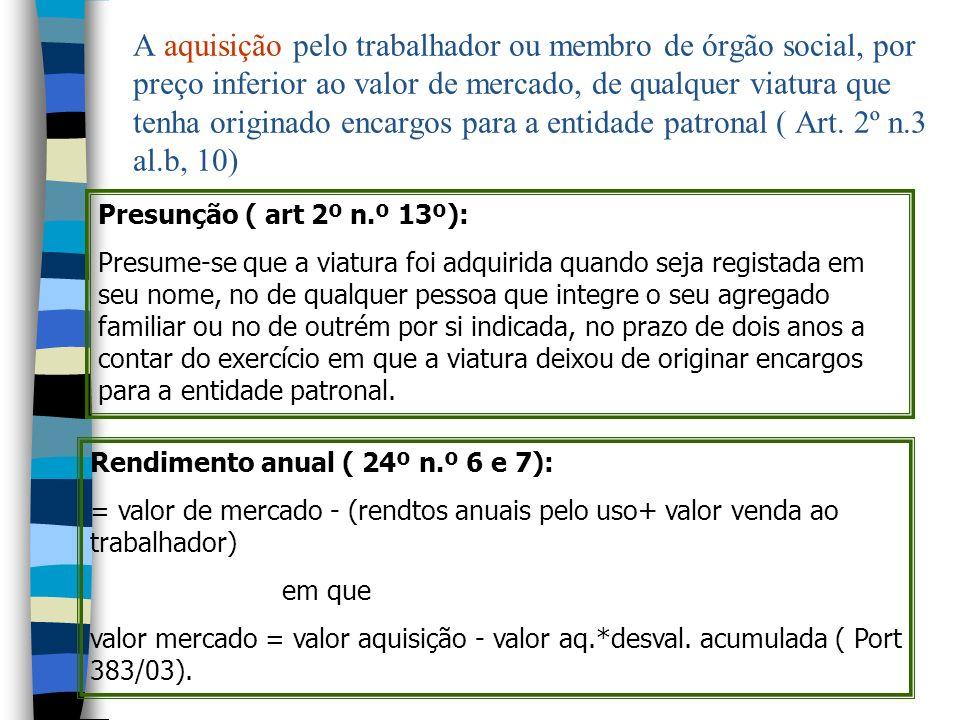 A aquisição pelo trabalhador ou membro de órgão social, por preço inferior ao valor de mercado, de qualquer viatura que tenha originado encargos para a entidade patronal ( Art. 2º n.3 al.b, 10)