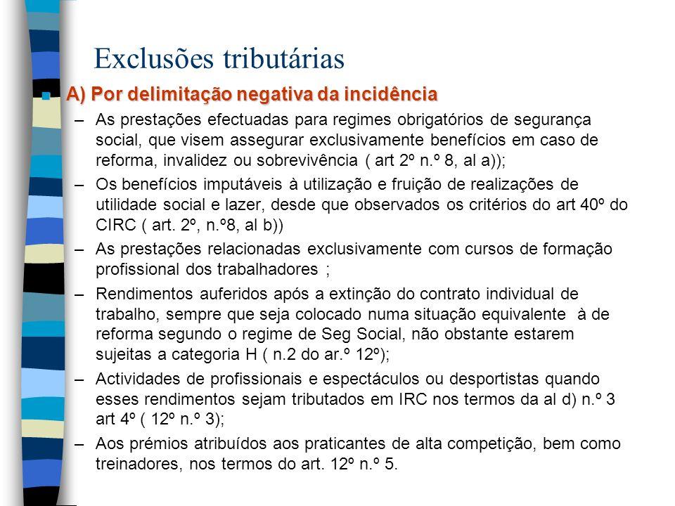 Exclusões tributárias