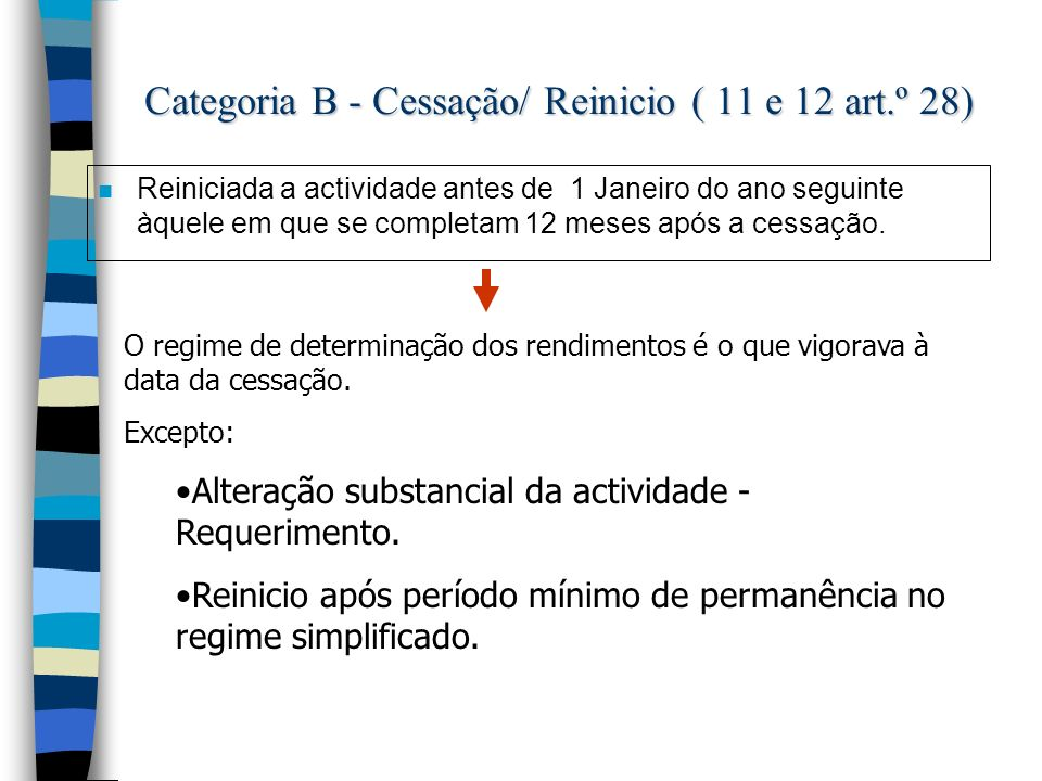 Categoria B - Cessação/ Reinicio ( 11 e 12 art.º 28)