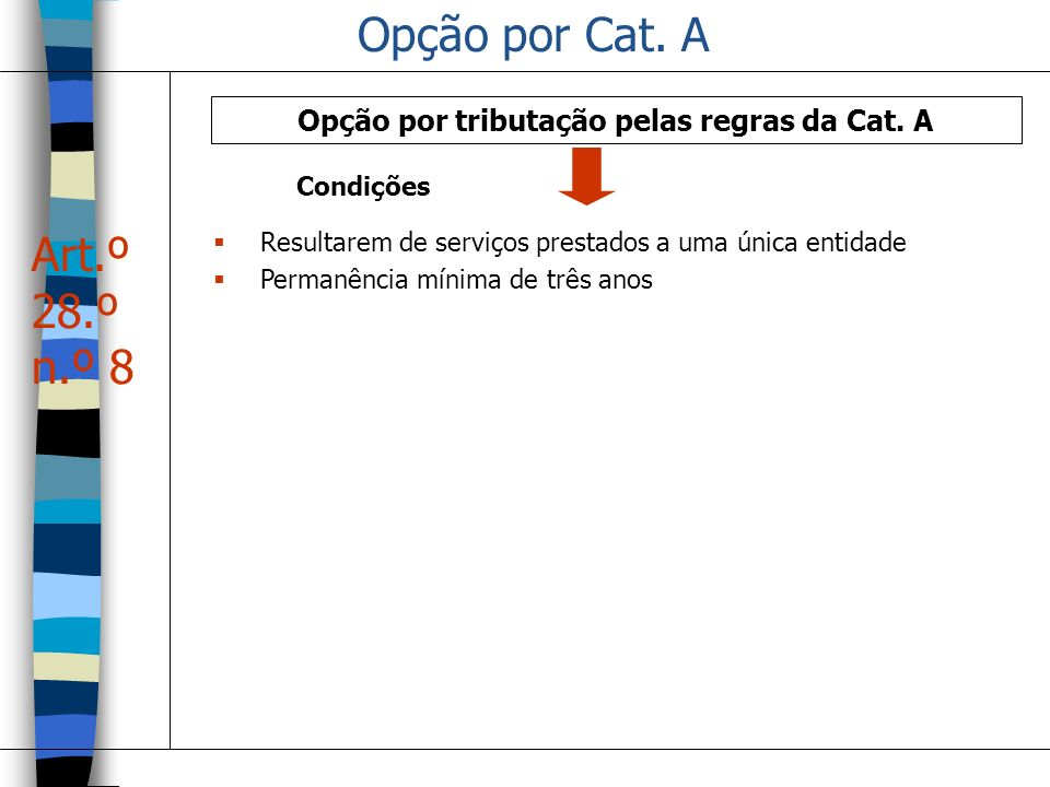 Opção por tributação pelas regras da Cat. A