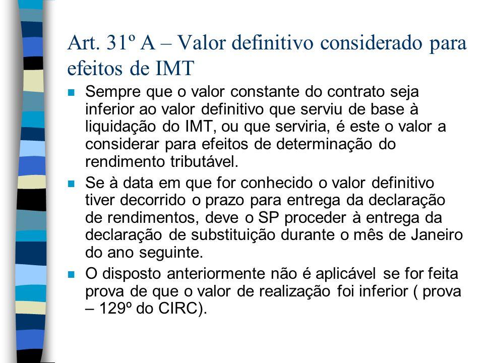 Art. 31º A – Valor definitivo considerado para efeitos de IMT