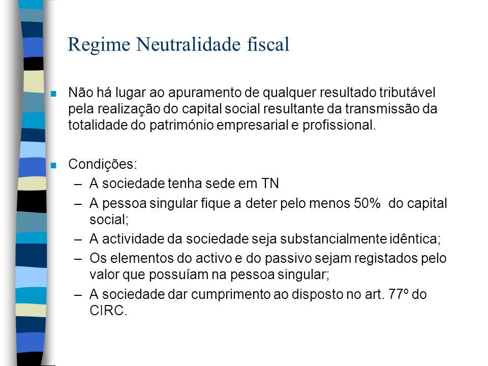 Regime Neutralidade fiscal