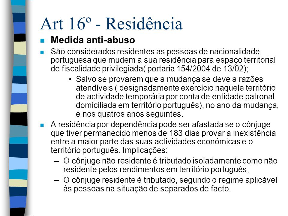 Art 16º - Residência Medida anti-abuso