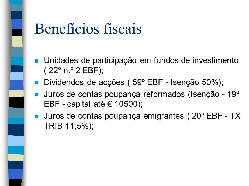 Benefícios fiscais Unidades de participação em fundos de investimento ( 22º n.º 2 EBF); Dividendos de acções ( 59º EBF - Isenção 50%);
