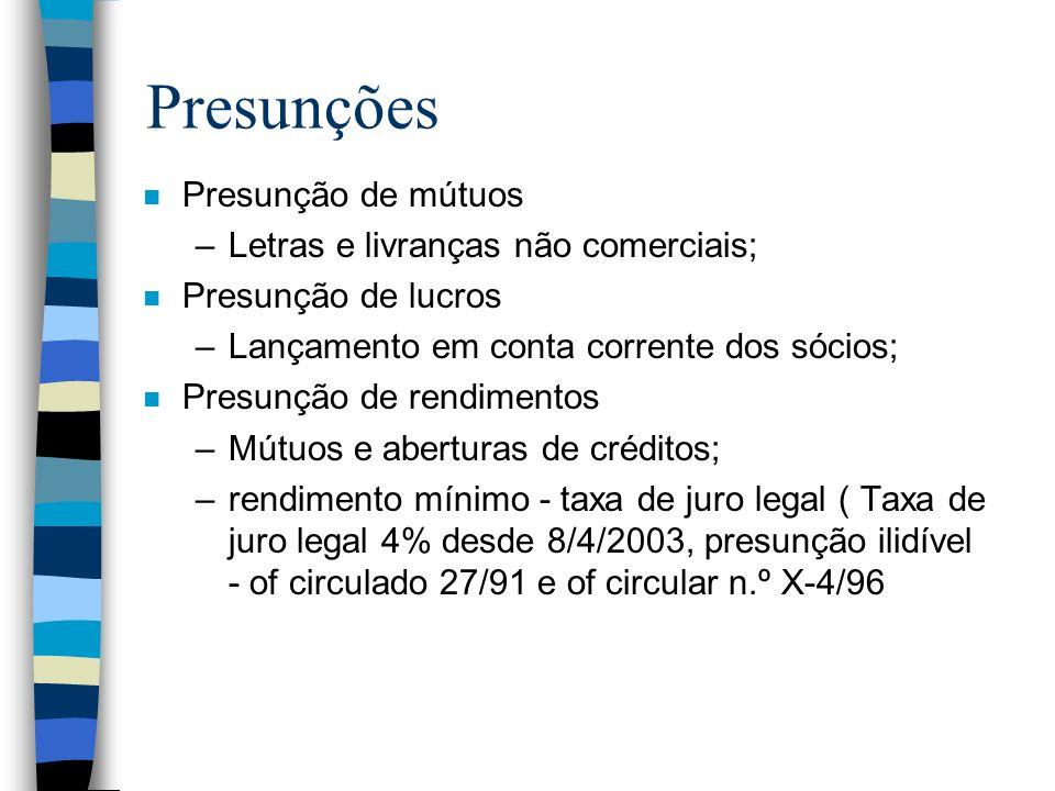 Presunções Presunção de mútuos Letras e livranças não comerciais;