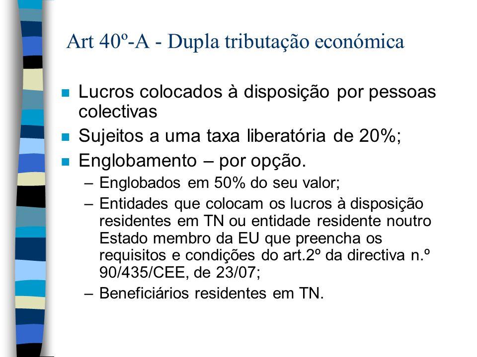 Art 40º-A - Dupla tributação económica