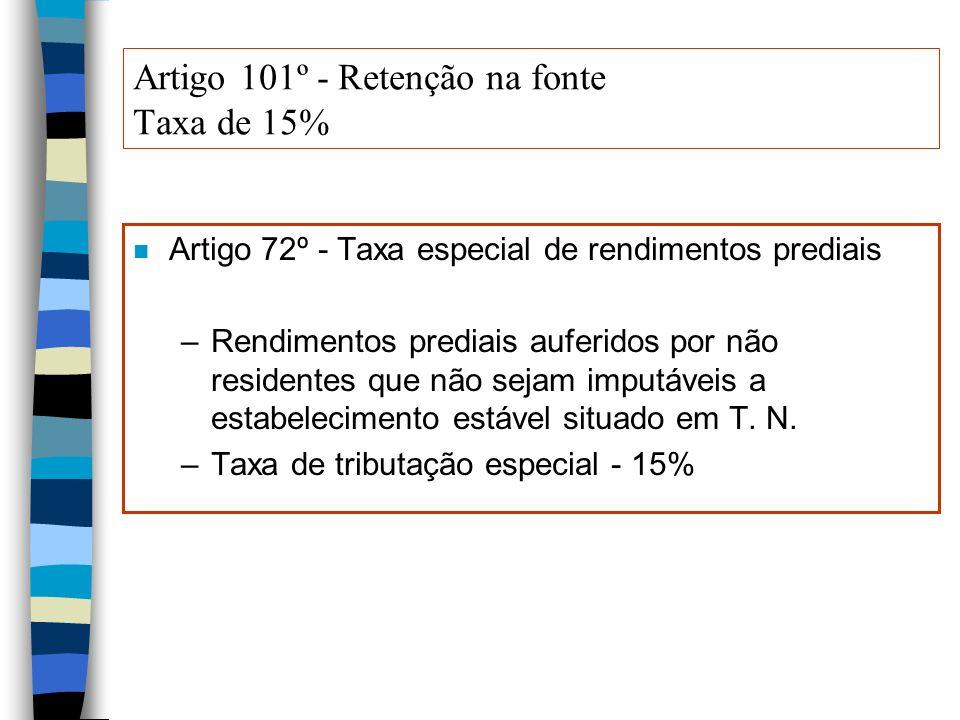 Artigo 101º - Retenção na fonte Taxa de 15%