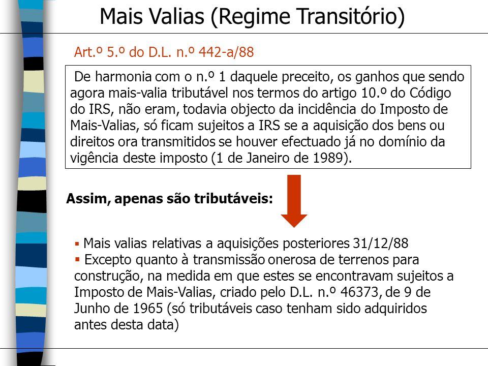Mais Valias (Regime Transitório)