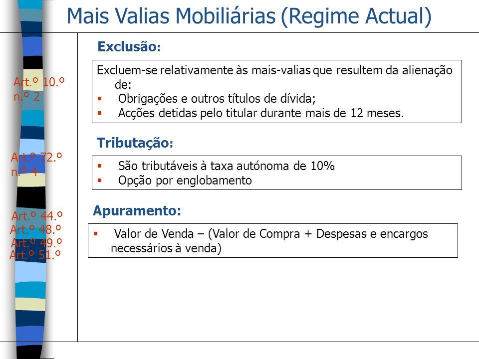 Mais Valias Mobiliárias (Regime Actual)