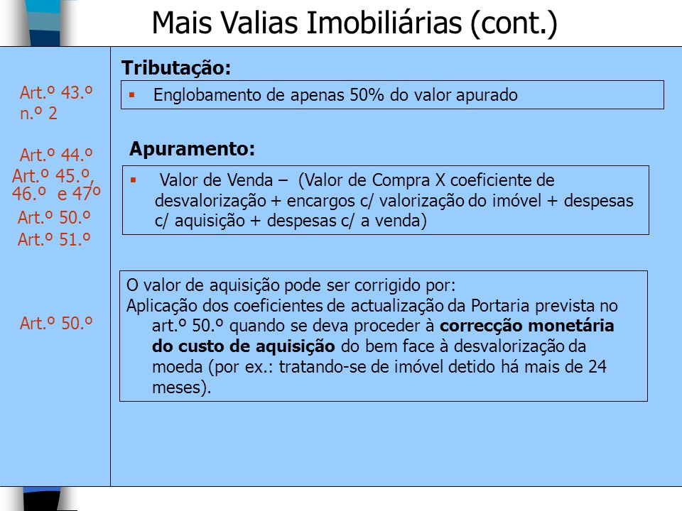 Mais Valias Imobiliárias (cont.)