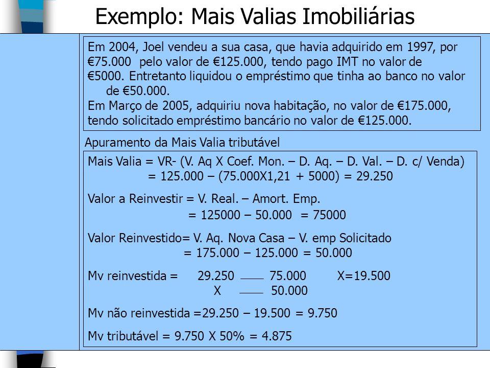 Exemplo: Mais Valias Imobiliárias