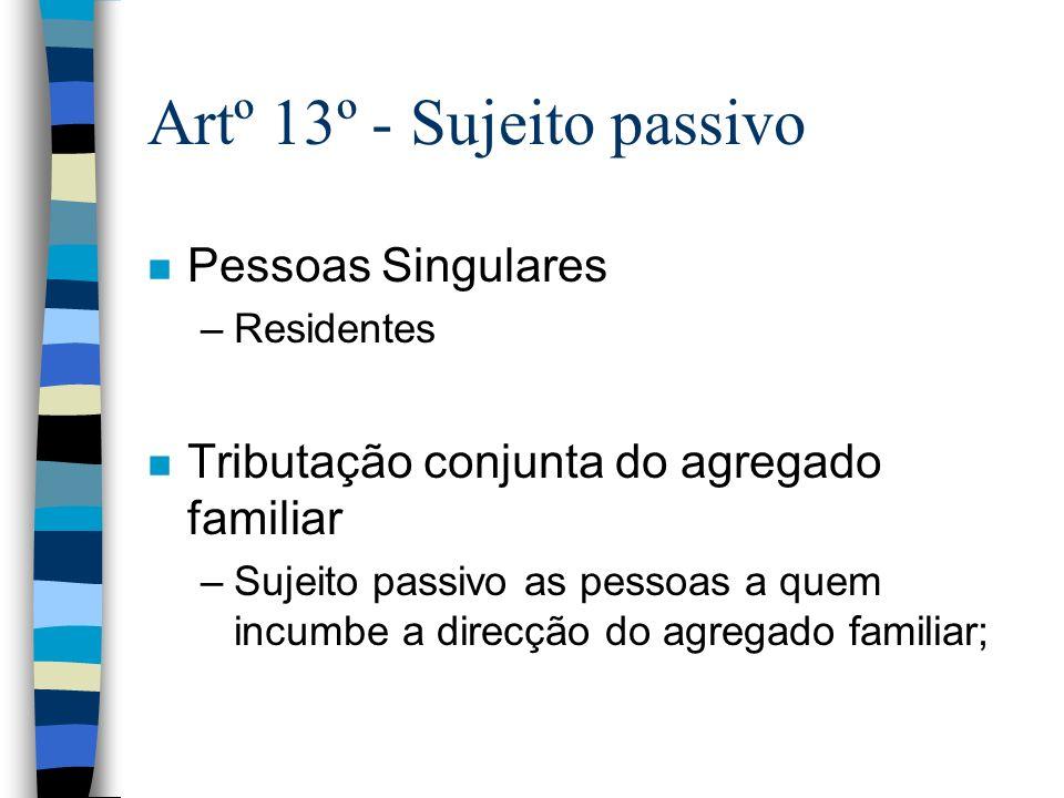 Artº 13º - Sujeito passivo