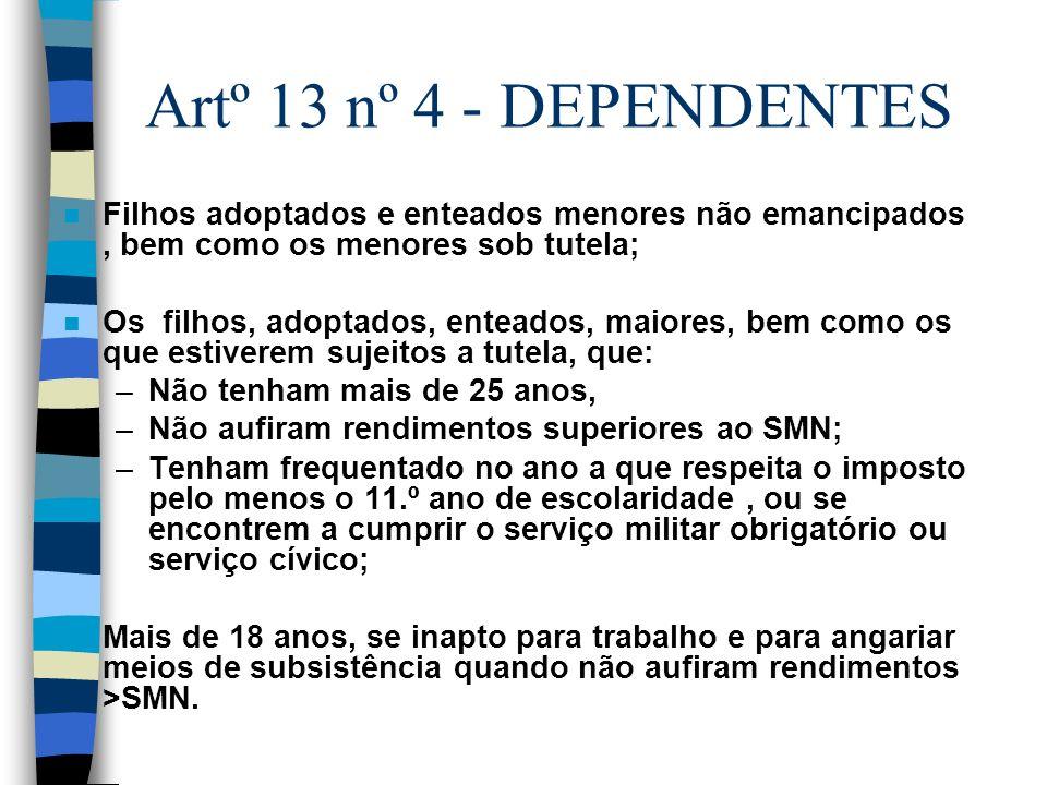 Artº 13 nº 4 - DEPENDENTES Filhos adoptados e enteados menores não emancipados , bem como os menores sob tutela;