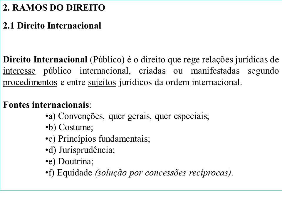 2. RAMOS DO DIREITO2.1 Direito Internacional.