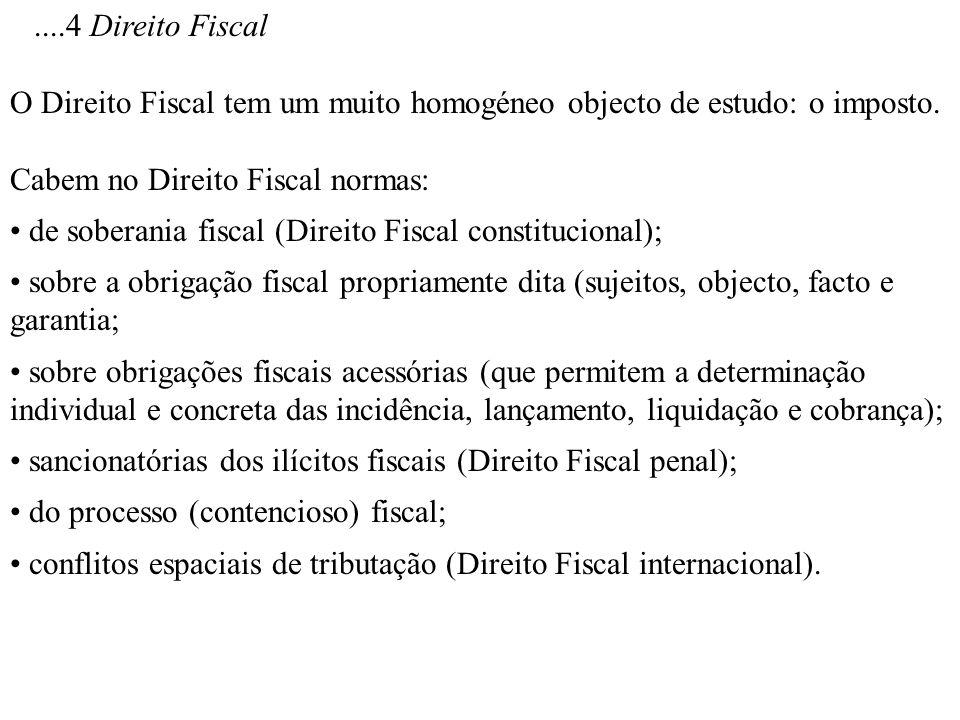 ....4 Direito FiscalO Direito Fiscal tem um muito homogéneo objecto de estudo: o imposto. Cabem no Direito Fiscal normas:
