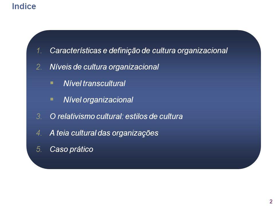 Indice Características e definição de cultura organizacional