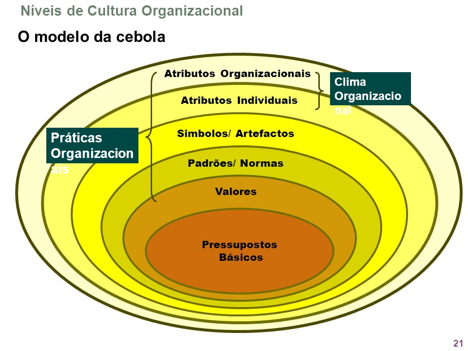 O modelo da cebola Níveis de Cultura Organizacional