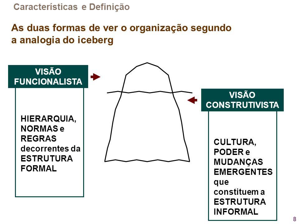 As duas formas de ver o organização segundo a analogia do iceberg