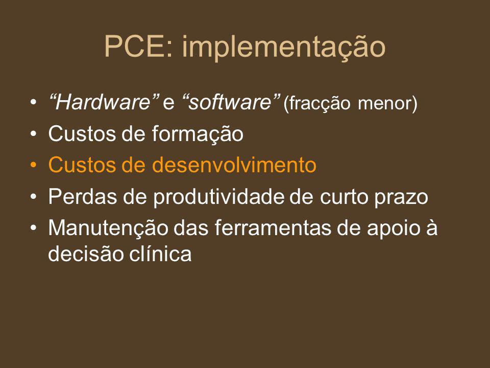 PCE: implementação Hardware e software (fracção menor)