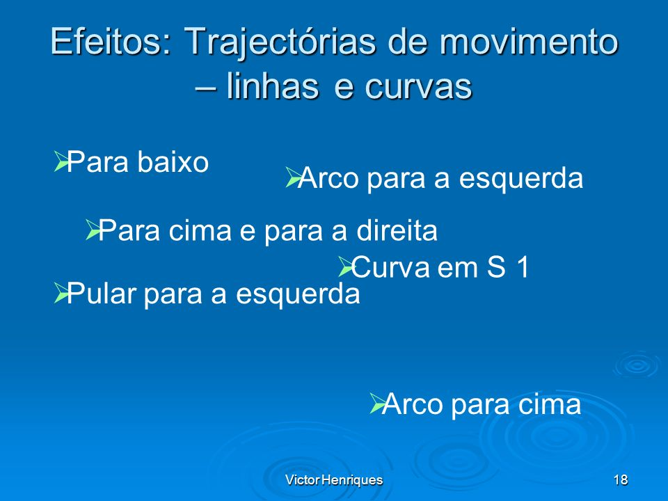 Efeitos: Trajectórias de movimento – linhas e curvas