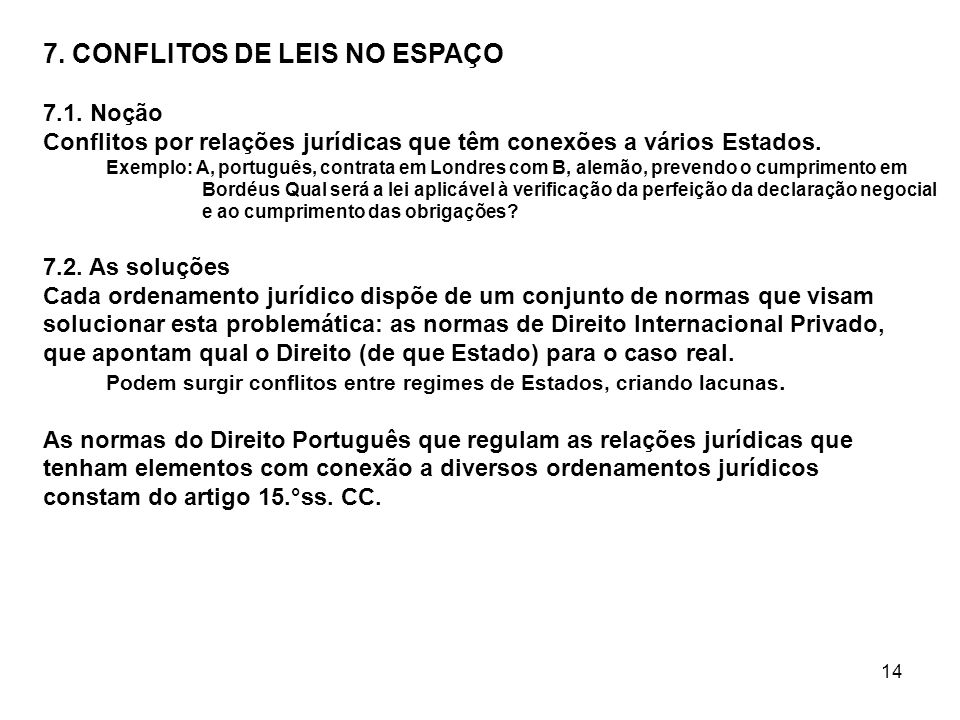 7. CONFLITOS DE LEIS NO ESPAÇO