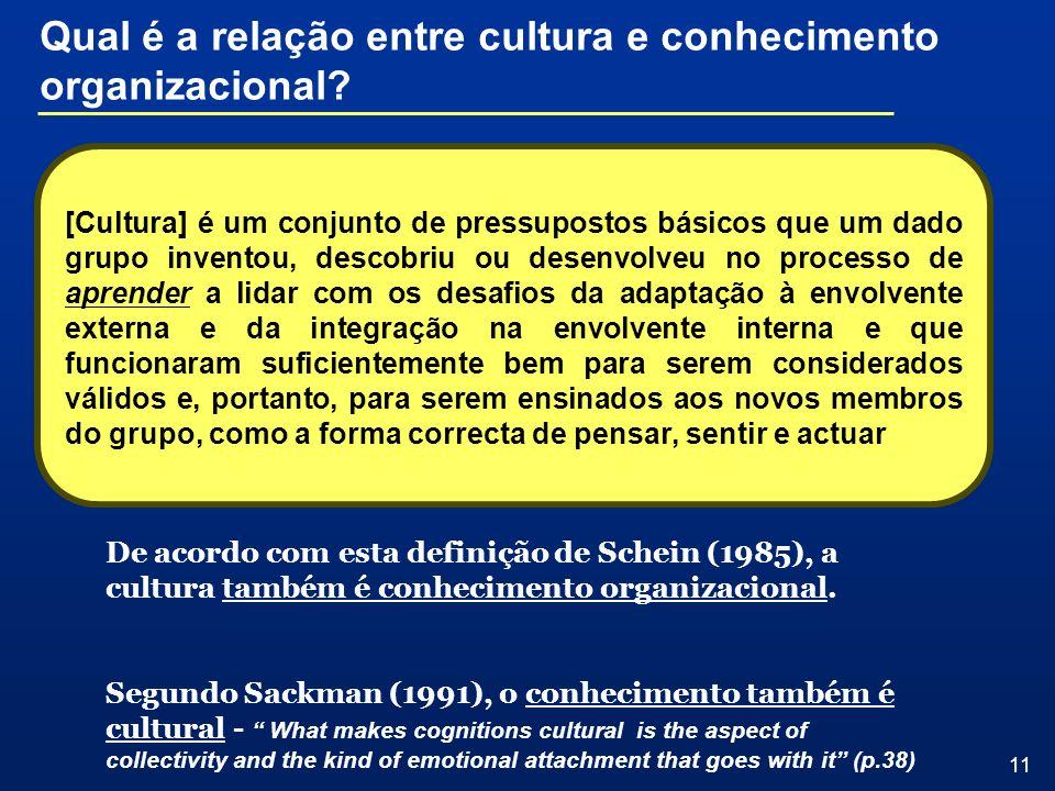 Qual é a relação entre cultura e conhecimento organizacional
