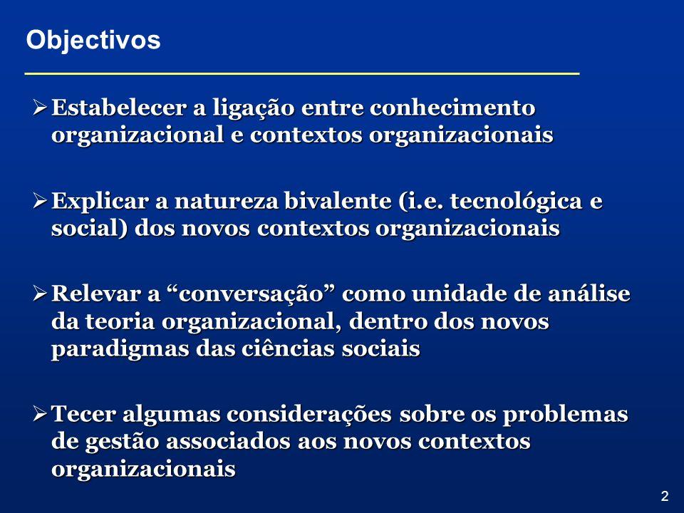 Objectivos Estabelecer a ligação entre conhecimento organizacional e contextos organizacionais.