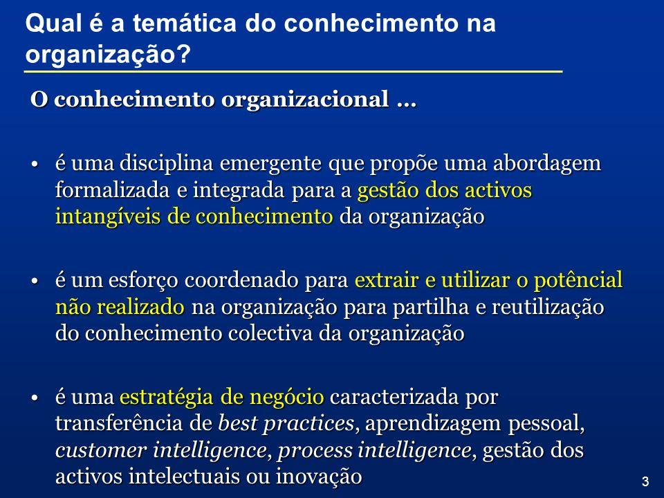 Qual é a temática do conhecimento na organização