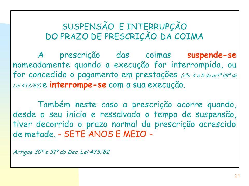 SUSPENSÃO E INTERRUPÇÃO DO PRAZO DE PRESCRIÇÃO DA COIMA