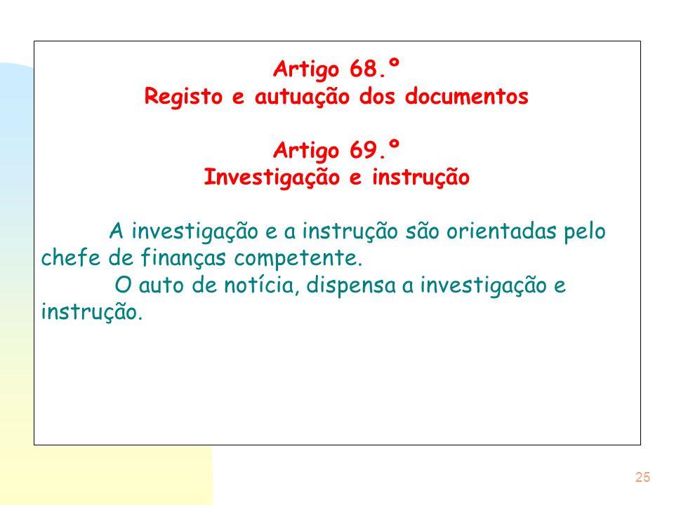 Registo e autuação dos documentos Investigação e instrução