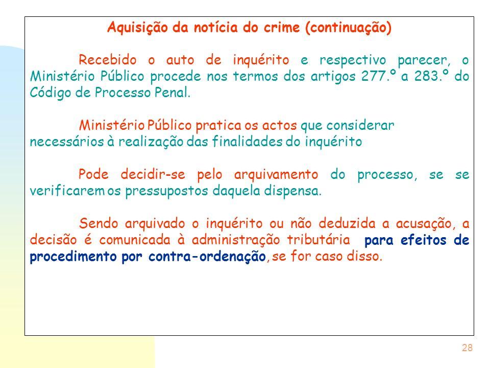 Aquisição da notícia do crime (continuação)