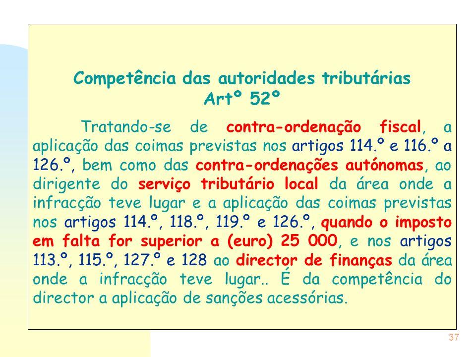 Competência das autoridades tributárias