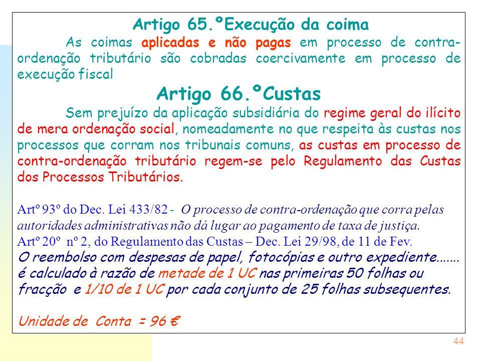 Artigo 65.ºExecução da coima