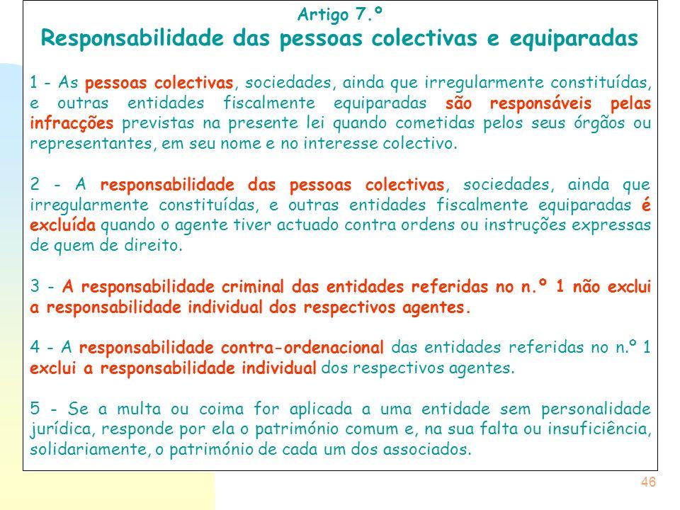 Responsabilidade das pessoas colectivas e equiparadas