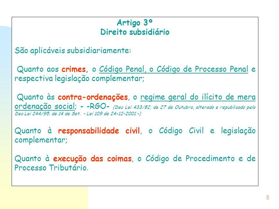 Artigo 3º Direito subsidiário. São aplicáveis subsidiariamente: