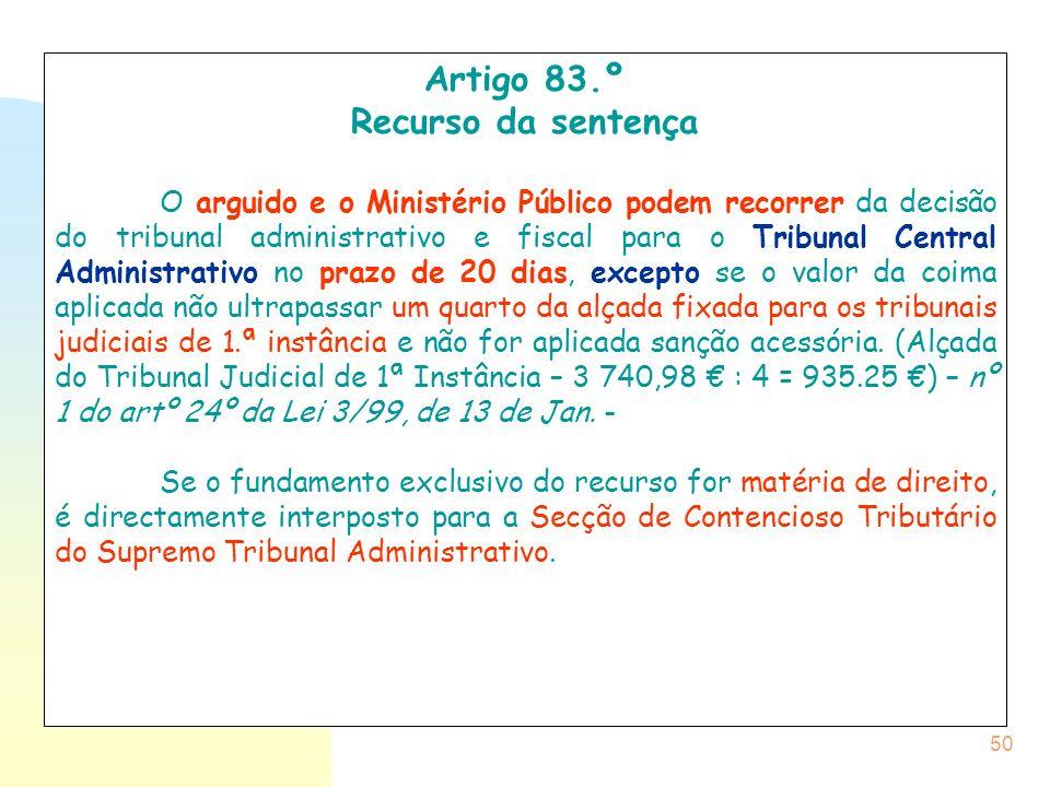 Artigo 83.º Recurso da sentença