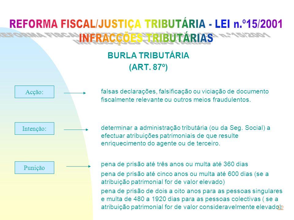 REFORMA FISCAL/JUSTIÇA TRIBUTÁRIA - LEI n.º15/2001