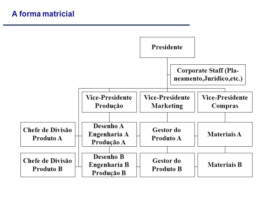 A forma matricial Presidente Corporate Staff (Pla-