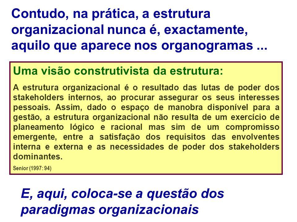 E, aqui, coloca-se a questão dos paradigmas organizacionais