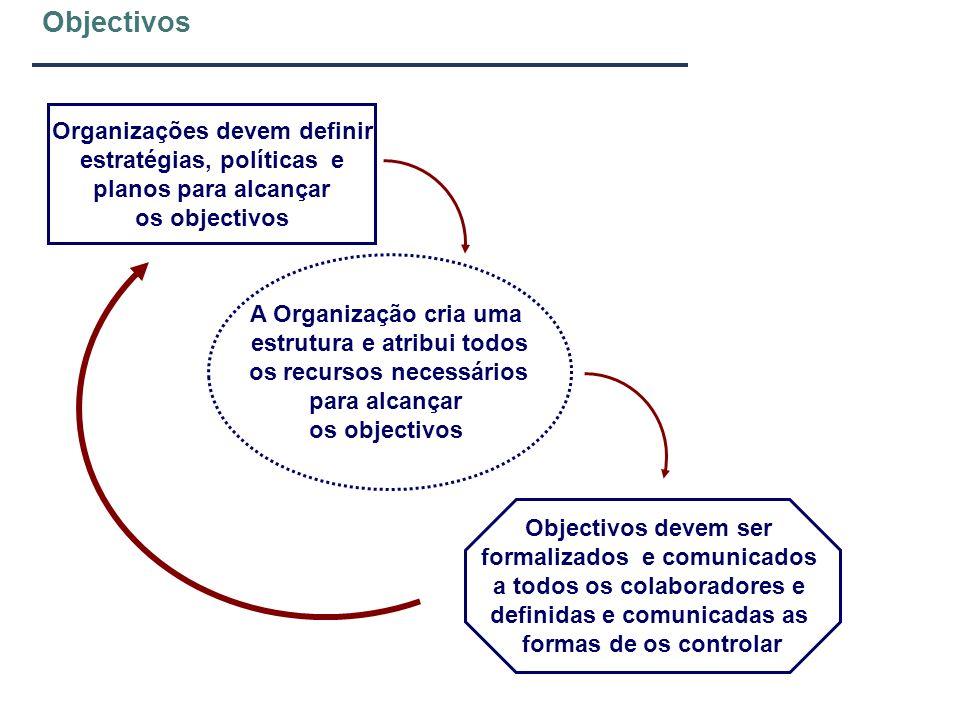 Objectivos Organizações devem definir estratégias, políticas e