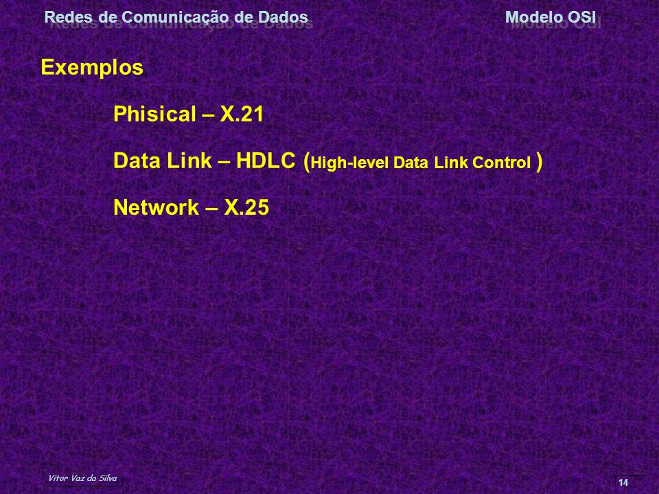 Exemplos Phisical – X.21 Data Link – HDLC (High-level Data Link Control ) Network – X.25