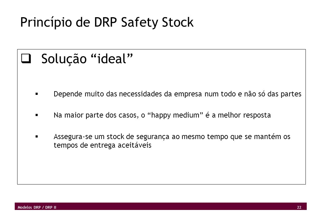 Princípio de DRP Safety Stock