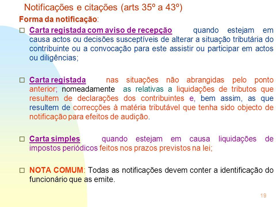 Notificações e citações (arts 35º a 43º)