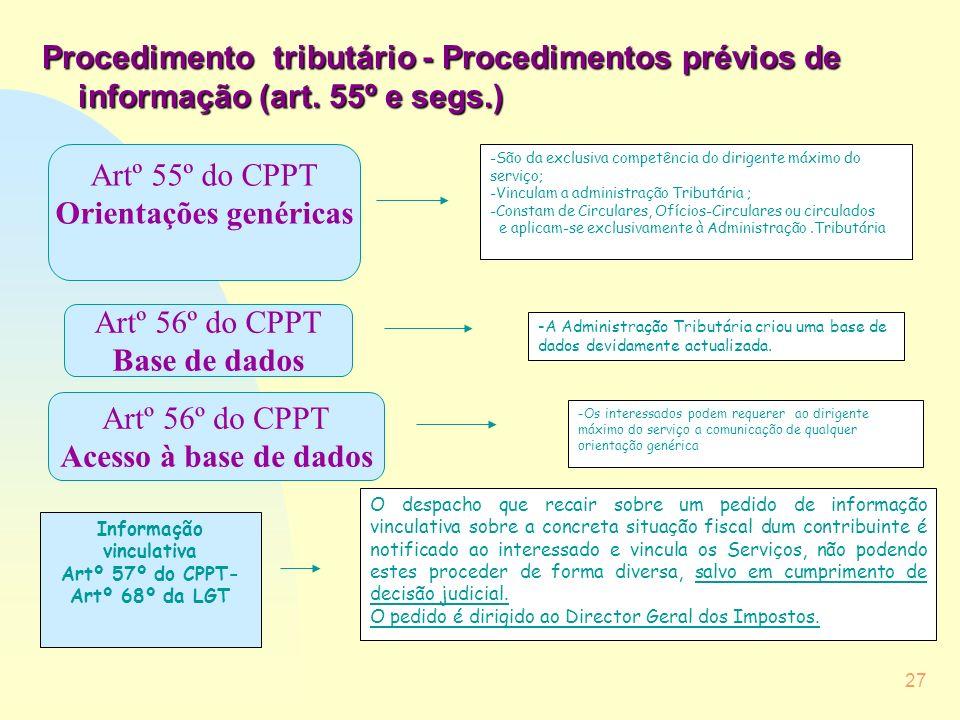 Informação vinculativa Artº 57º do CPPT-Artº 68º da LGT