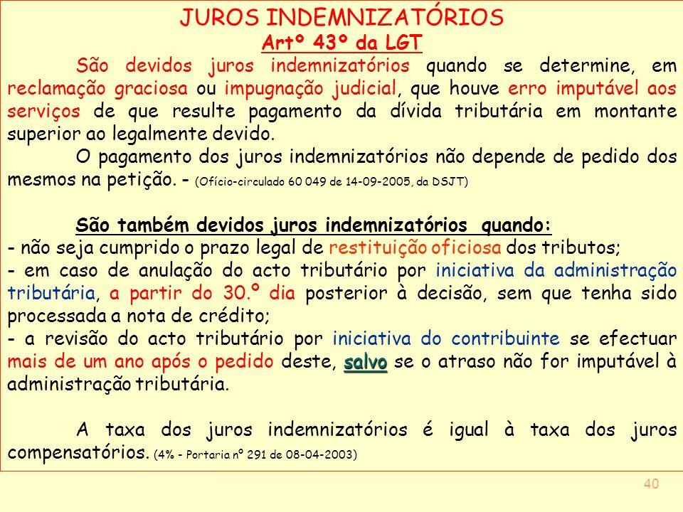JUROS INDEMNIZATÓRIOS