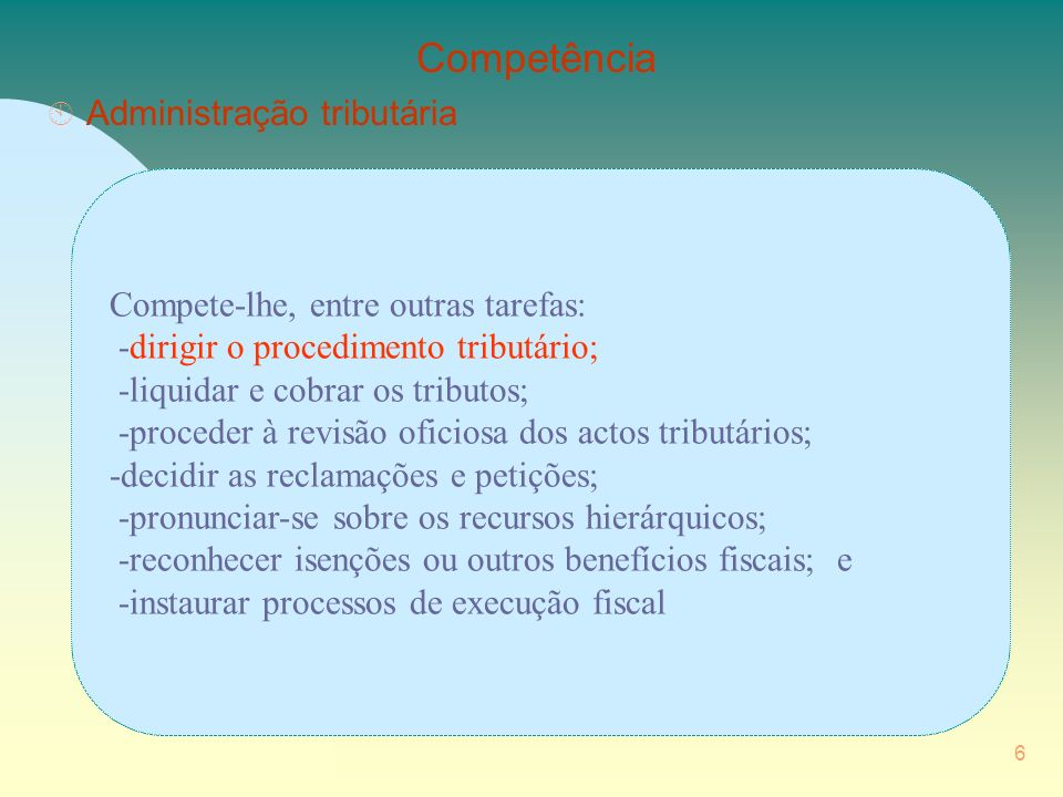 Competência Administração tributária