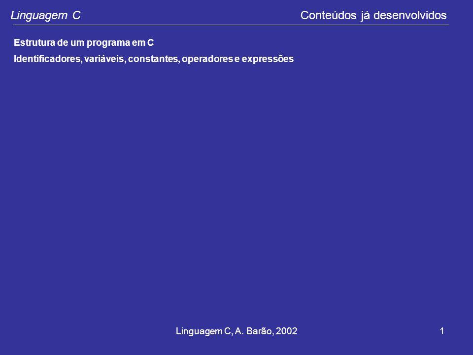 Linguagem C Conteúdos já desenvolvidos