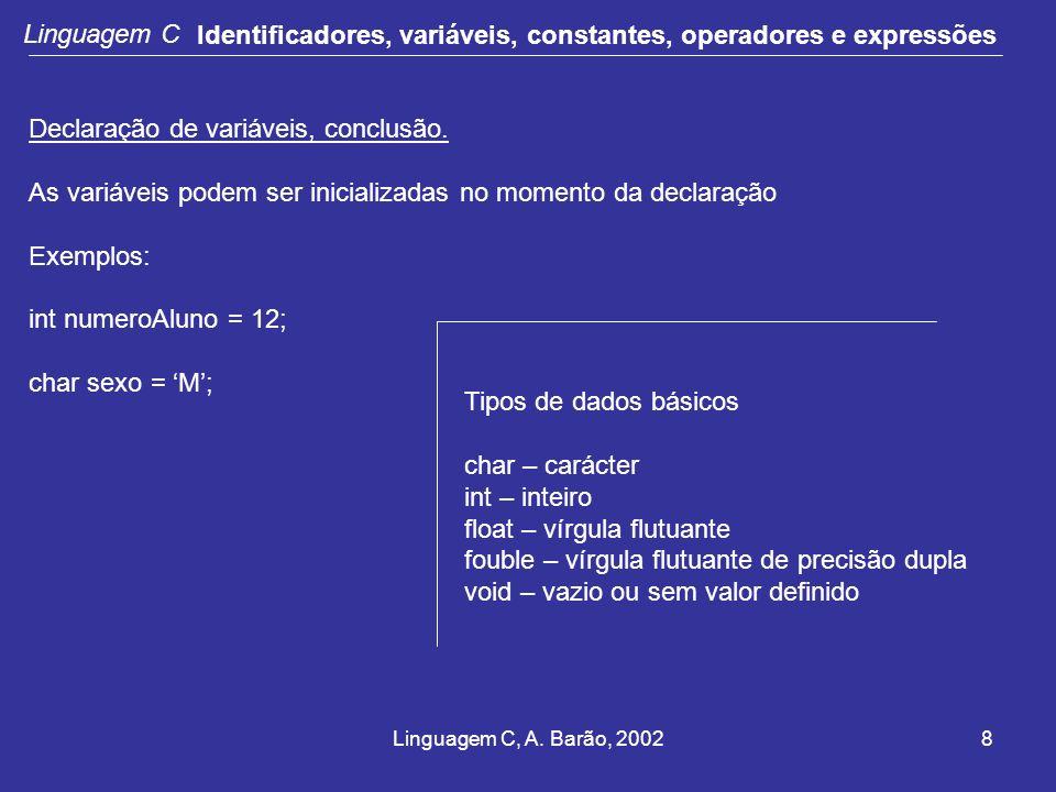 Identificadores, variáveis, constantes, operadores e expressões