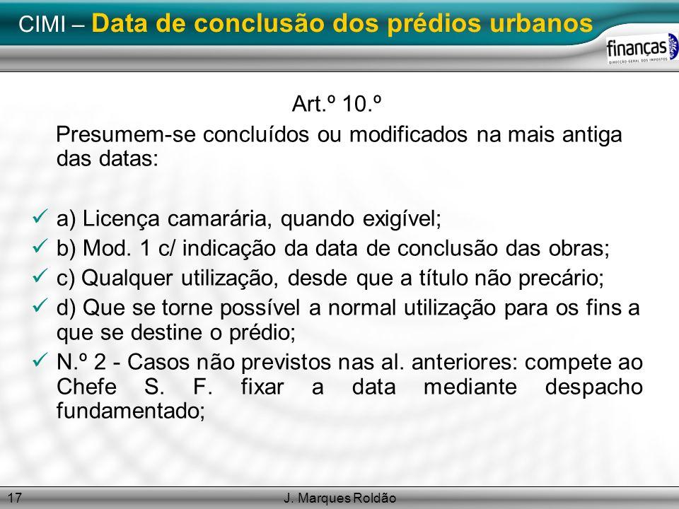 CIMI – Data de conclusão dos prédios urbanos