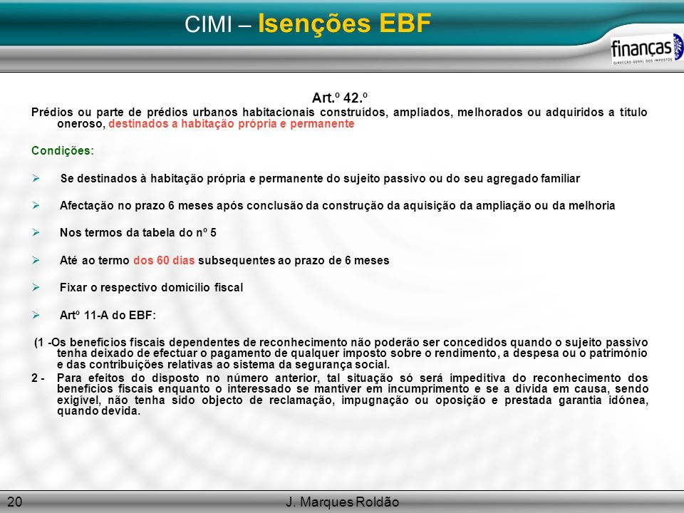 CIMI – Isenções EBF Art.º 42.º J. Marques Roldão
